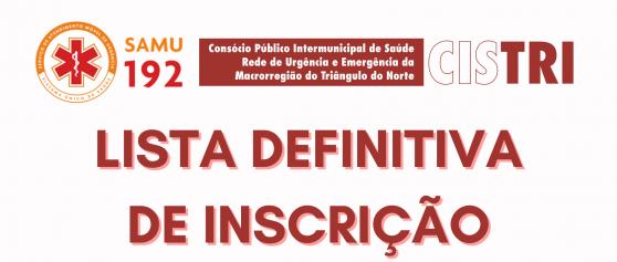 LISTA DEFINITIVA DE INSCRIÇÃO – EDITAL 001/2021